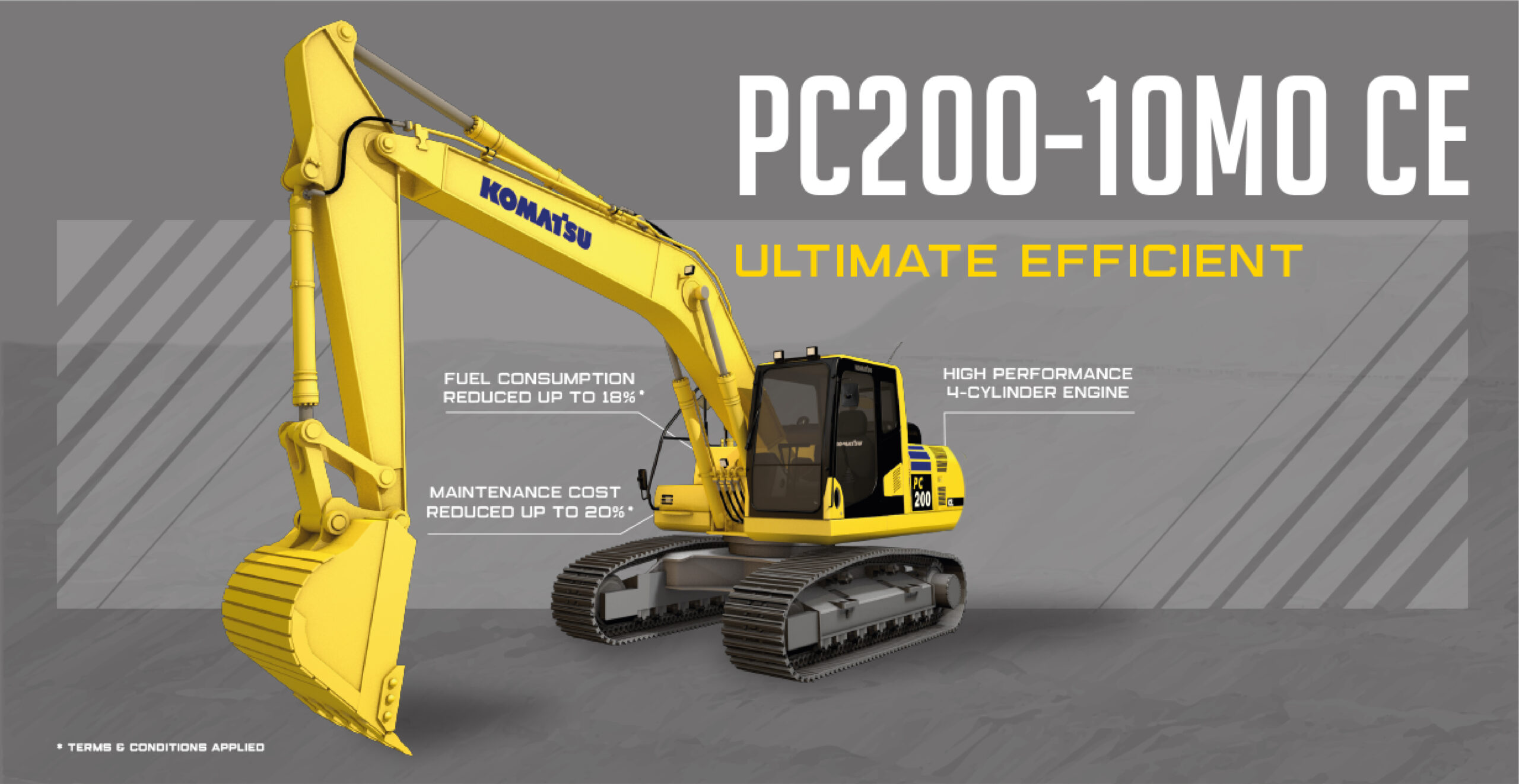 Komatsu PC200-10M0 CE: Achieve Work Efficiency with an Affordable Excavator in Its Class!